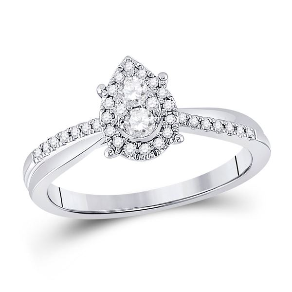 Round Diamond Cluster Pear Promise Ring 1/4 Cttw 10KT White Gold