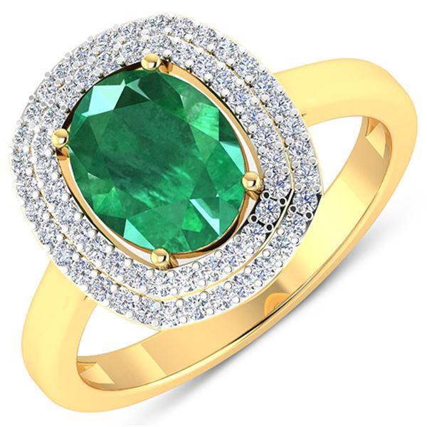 Natural 1.93 CTW Zambian Emerald & Diamond Ring 14K Yellow Gold - REF-80R9F