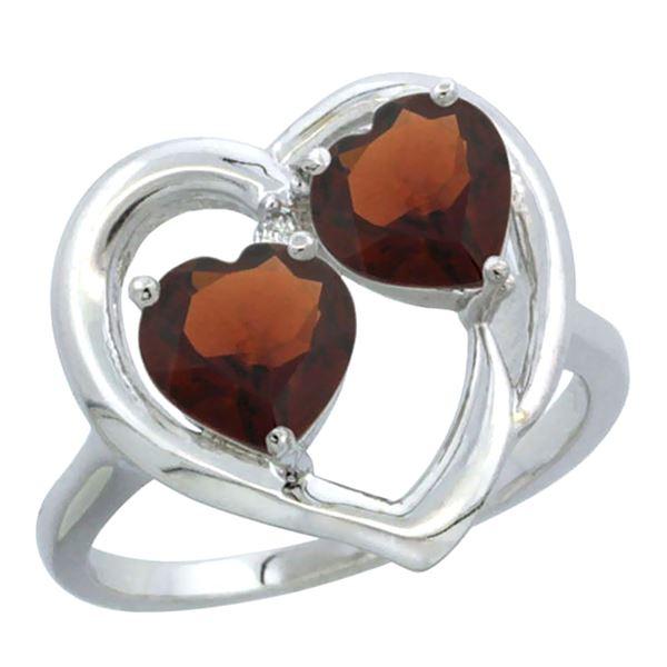 2.60 CTW Garnet Ring 14K White Gold - REF-33A9X