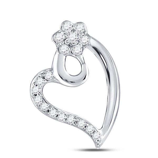 Round Diamond Floral Heart Pendant 1/10 Cttw 10KT White Gold