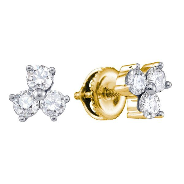 Round Diamond 3-stone Earrings 3/4 Cttw 14KT Yellow Gold