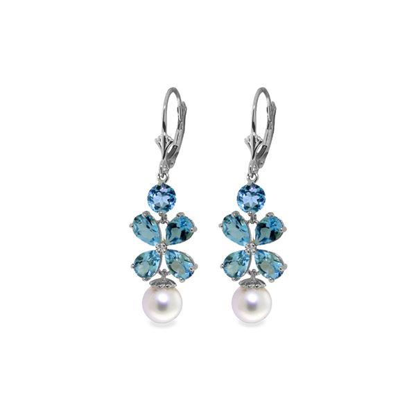 Genuine 6.28 ctw Blue Topaz & Pearl Earrings 14KT White Gold - REF-49M8T