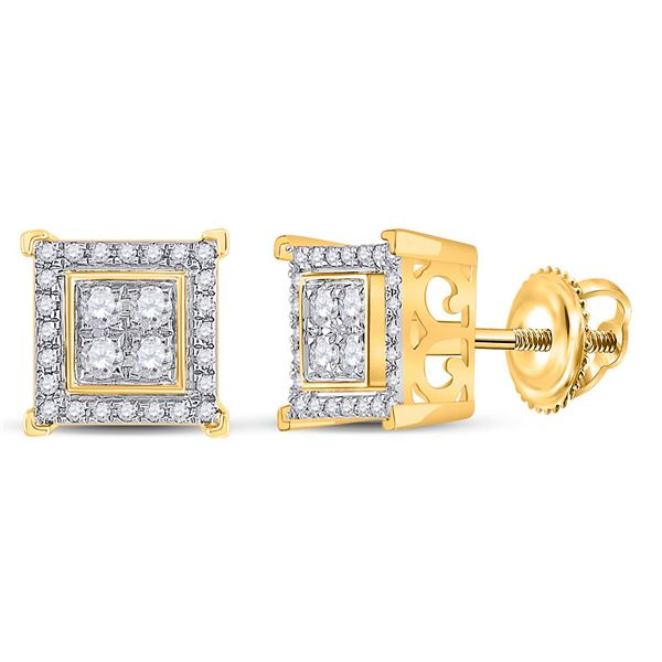 Round Diamond Square Earrings 1/3 Cttw 14KT Yellow Gold