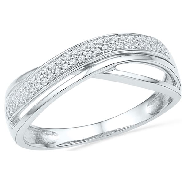 Round Diamond Crossover Band Ring 1/6 Cttw 10KT White Gold