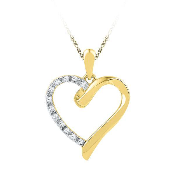 Round Diamond Heart Pendant 1/20 Cttw 10KT Yellow Gold