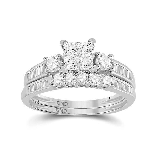 Princess Diamond Bridal Wedding Ring Band Set 1.00 Cttw 10KT White Gold