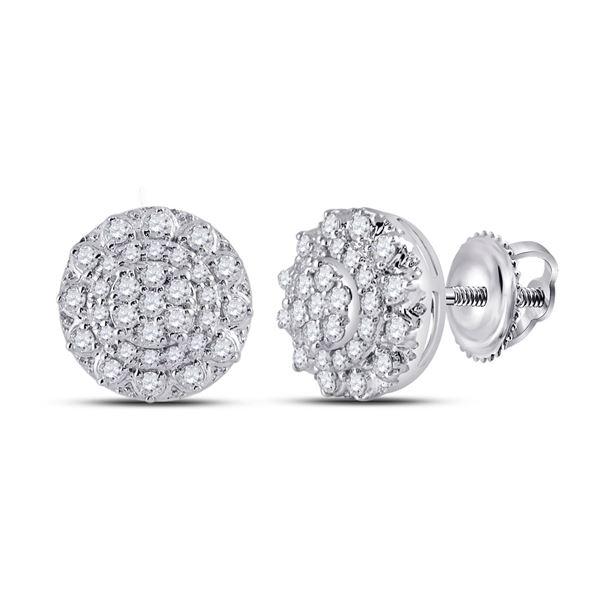 Round Diamond Cluster Earrings 1/2 Cttw 14KT White Gold