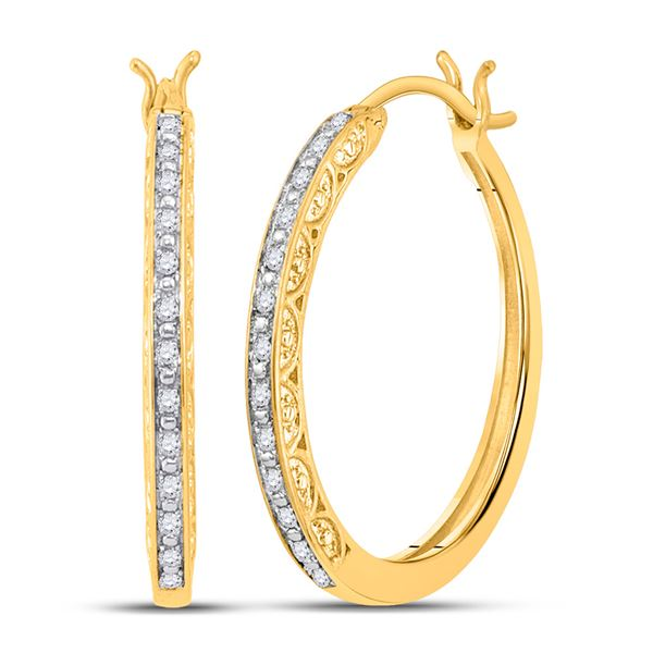 Round Diamond Hoop Earrings 1/6 Cttw 10KT Yellow Gold