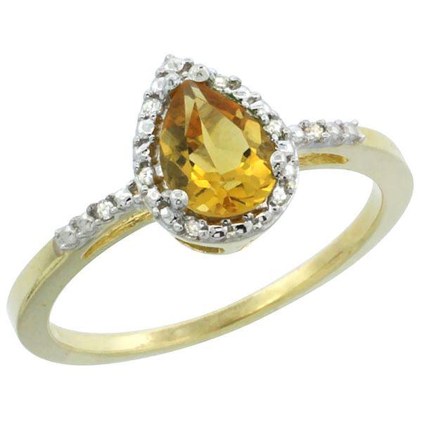 1.55 CTW Citrine & Diamond Ring 10K Yellow Gold - REF-20F7N