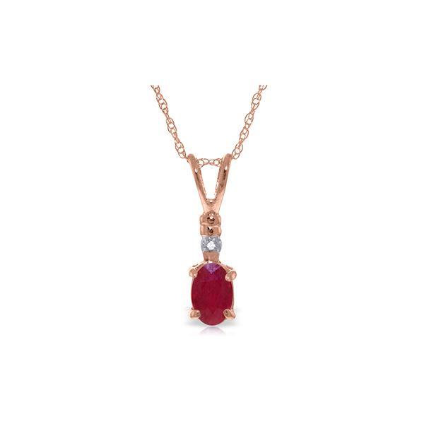 Genuine 0.46 ctw Ruby & Diamond Necklace 14KT Rose Gold - REF-22Y7F