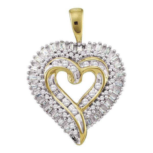 Round Diamond Heart Cluster Pendant 1/2 Cttw 10KT Yellow Gold
