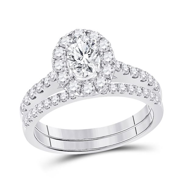 Bridal Wedding Ring Band Set 1-3/8 Cttw 14KT White Gold