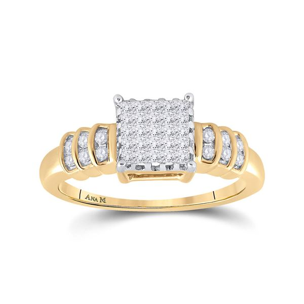 Princess Diamond Square Cluster Ring 1/3 Cttw 14KT Yellow Gold