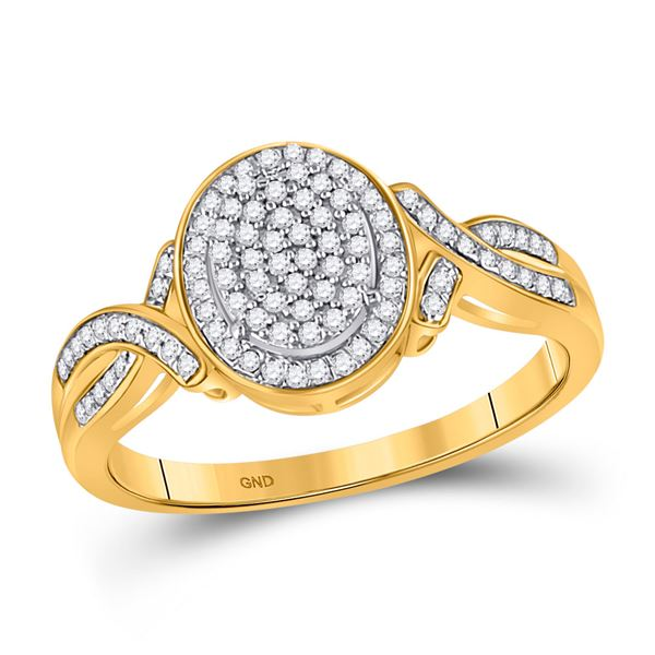 Round Diamond Oval Cluster Ring 1/4 Cttw 10KT Yellow Gold