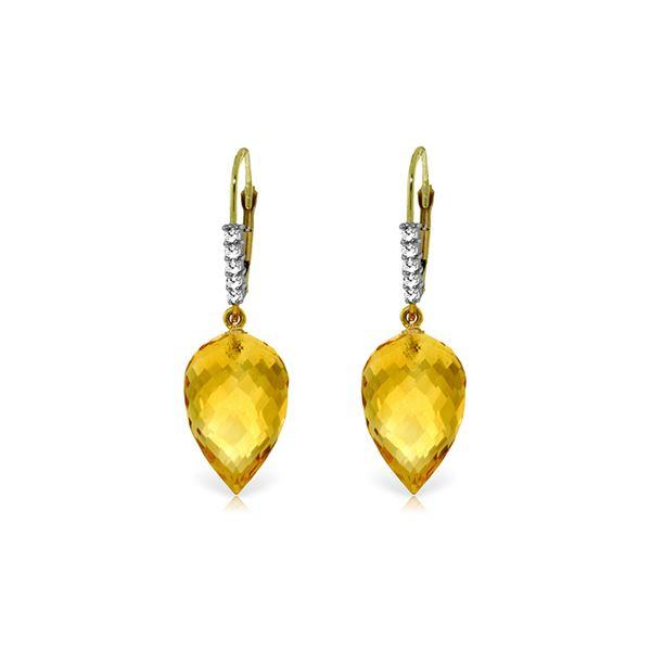 Genuine 19.15 ctw Citrine & Diamond Earrings 14KT Yellow Gold - REF-49N2R