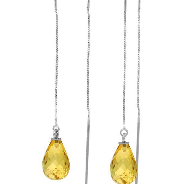 Genuine 4.5 ctw Citrine Earrings 14KT White Gold - REF-20H4X