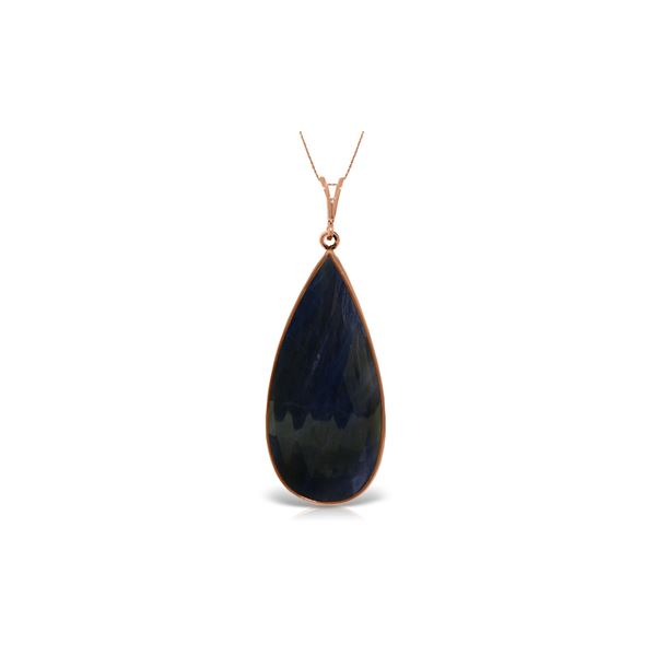 Genuine 21 ctw Sapphire Necklace 14KT Rose Gold - REF-75R2P
