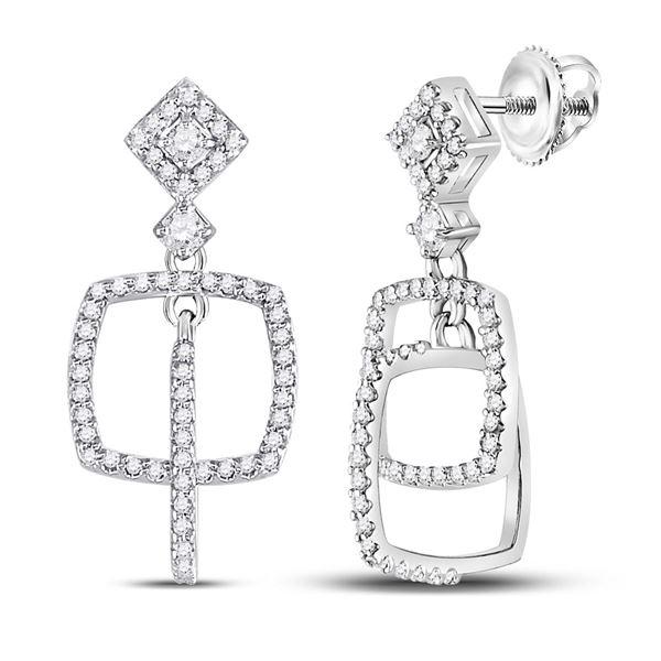 Round Diamond Dangle Square Earrings 3/8 Cttw 10KT White Gold