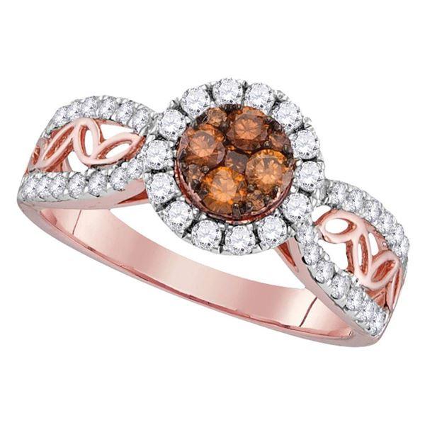 Round Brown Diamond Circle Frame Cluster Ring 1 Cttw 10KT Rose Gold