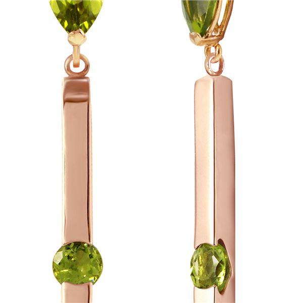 Genuine 4.25 ctw Peridot Earrings 14KT Rose Gold - REF-54Z6N
