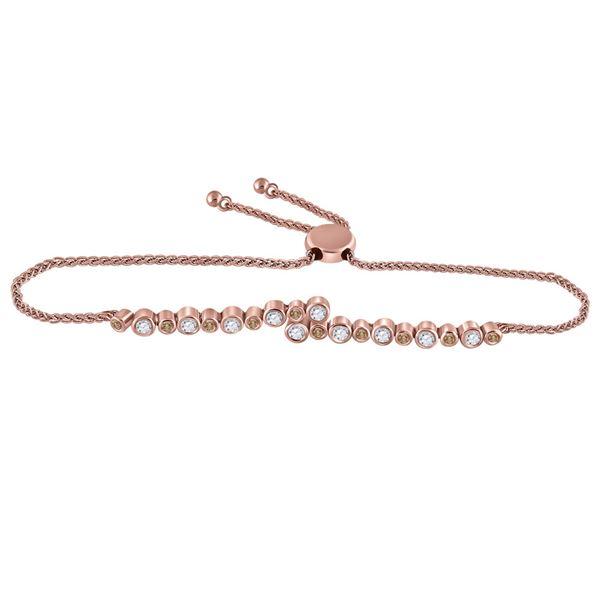 Round Brown Diamond Alternating Bypass Bolo Bracelet 1/2 Cttw 14KT Rose Gold
