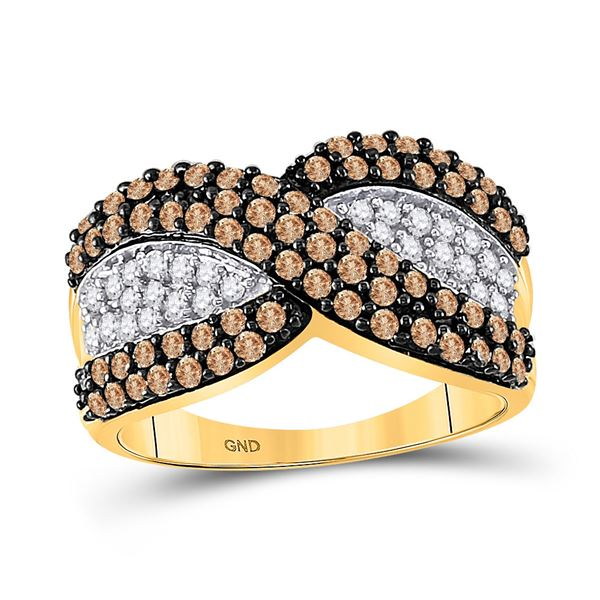 Round Brown Diamond Crossover Stripe Band Ring 1 Cttw 10KT Yellow Gold