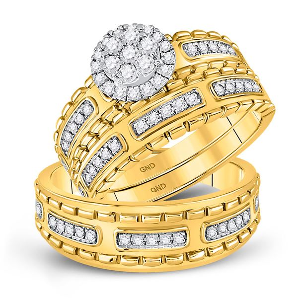 Diamond Cluster Matching Wedding Set 5/8 Cttw 14KT Yellow Gold