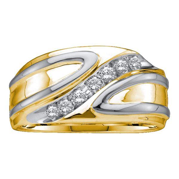 Round Diamond Diagonal Row Band Ring 1/4 Cttw 10KT Two-tone Gold