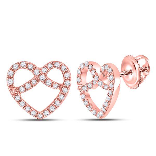 Round Diamond Pretzel Heart Earrings 1/6 Cttw 10KT Rose Gold