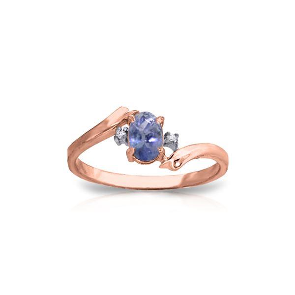 Genuine 0.46 ctw Tanzanite & Diamond Ring 14KT Rose Gold - REF-31T9A