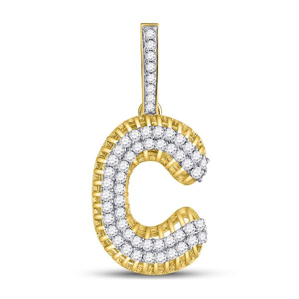 Round Diamond C Letter Charm Pendant 1-1/5 Cttw 10KT Yellow Gold