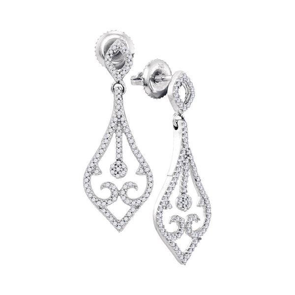 Round Diamond Scroll Teardrop Dangle Earrings 1/3 Cttw 10KT White Gold