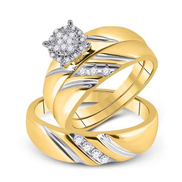 Diamond Cluster Matching Wedding Set 1/5 Cttw 10KT Yellow Gold