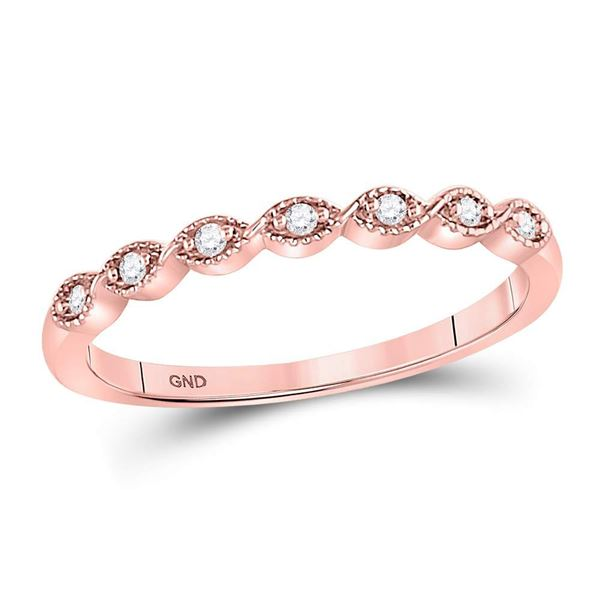 Round Diamond Stackable Band Ring 1/20 Cttw 14KT Rose Gold