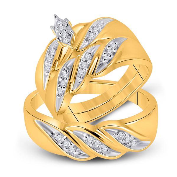 Solitaire Matching Wedding Set 1/4 Cttw 10KT Yellow Gold