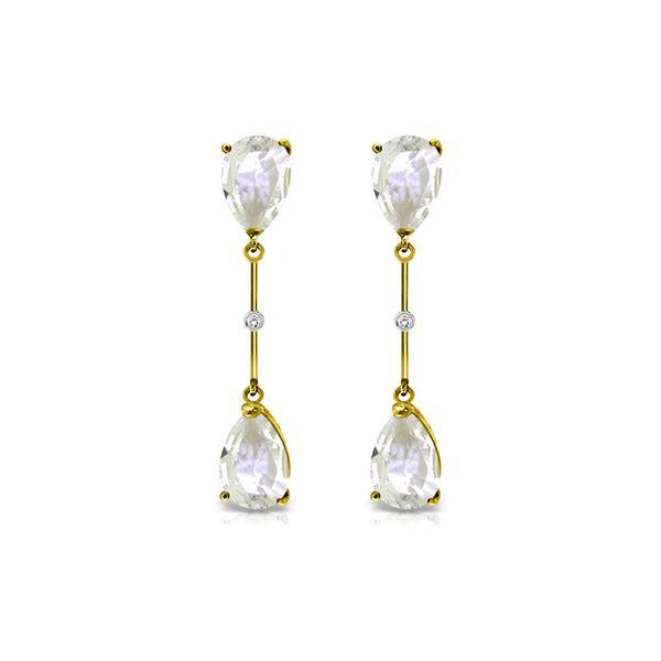 Genuine 6.01 ctw White Topaz & Diamond Earrings 14KT Yellow Gold - REF-42Z4N