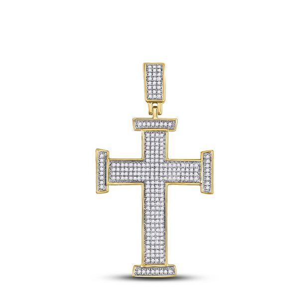 Round Diamond Cross Charm Pendant 3/4 Cttw 10KT Yellow Gold
