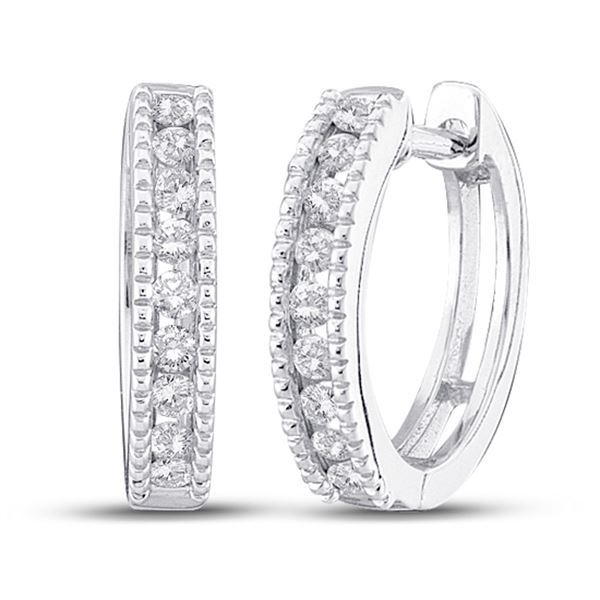 Round Diamond Milgrain Hoop Earrings 1/4 Cttw 10KT White Gold