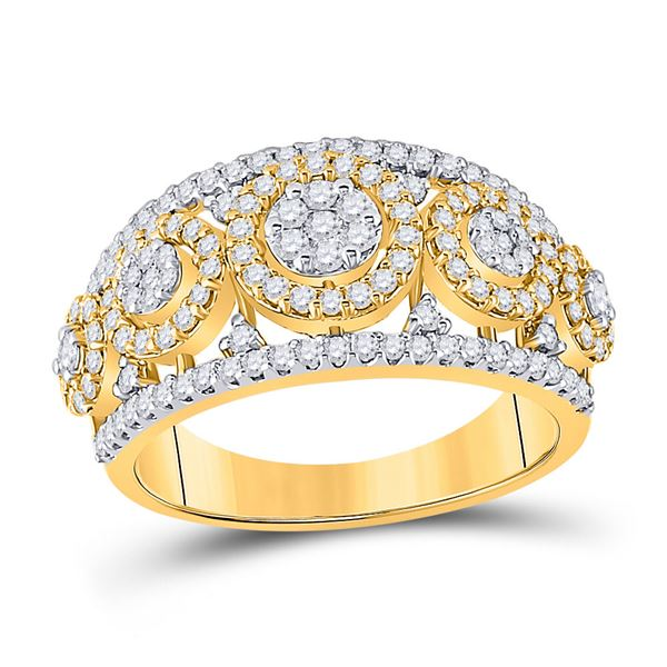 Round Diamond Cluster Anniversary Ring 1 Cttw 14KT White Gold