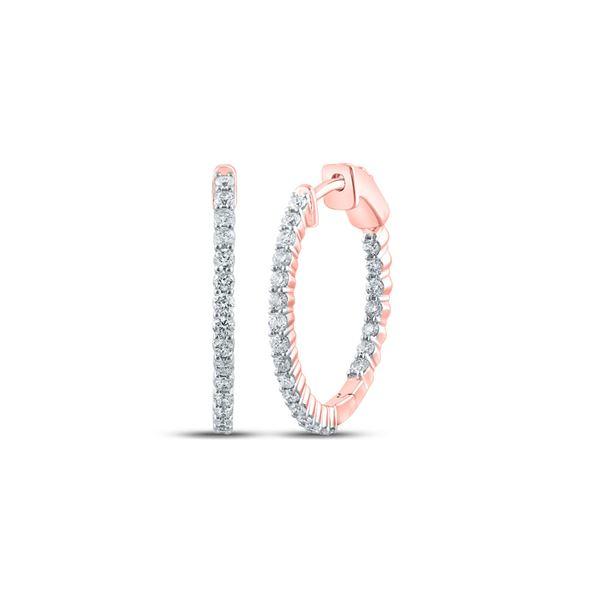 Round Diamond Inside Outside Hoop Earrings 1 Cttw 10KT Rose Gold