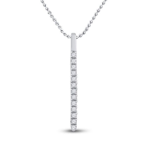 Round Diamond Bar Pendant 1/10 Cttw 14KT White Gold