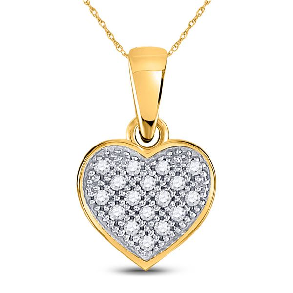 Round Diamond Simple Heart Cluster Pendant 1/20 Cttw 10KT Yellow Gold