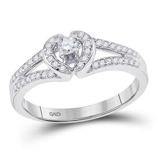 Round Diamond Heart Promise Ring 1/4 Cttw 10KT White Gold
