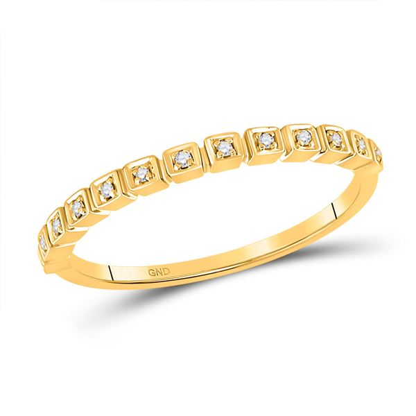 Round Diamond Stackable Band Ring 1/20 Cttw 10KT Yellow Gold