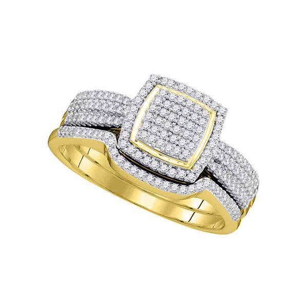 Diamond Square Bridal Wedding Ring Band Set 1/2 Cttw 10KT Yellow Gold