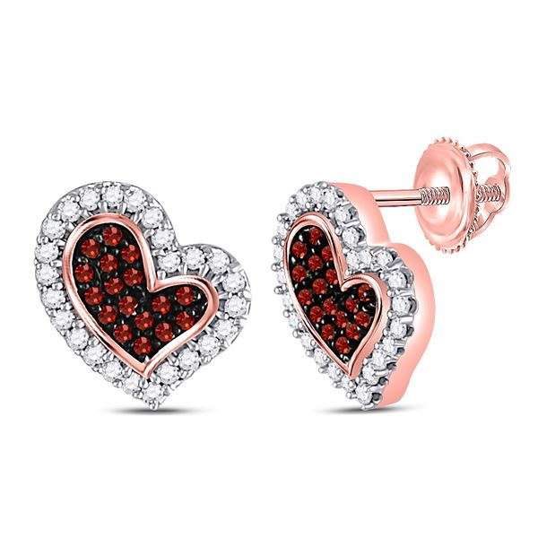 Round Red Color Enhanced Diamond Heart Stud Earrings 1/6 Cttw 10KT Rose Gold