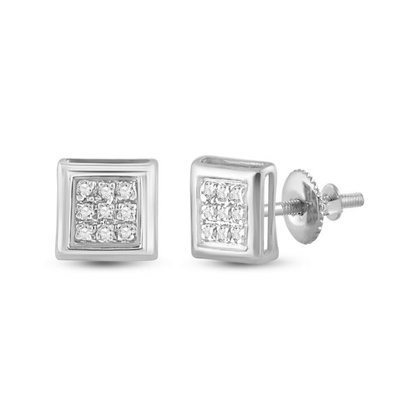 Round Diamond Square Earrings 1/20 Cttw 10KT White Gold