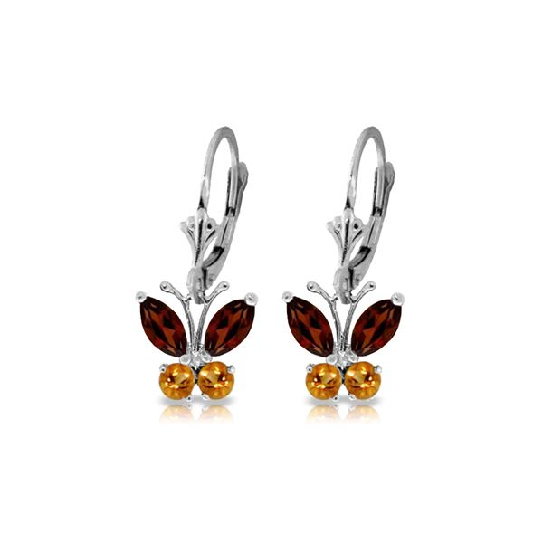 Genuine 1.24 ctw Garnet & Citrine Earrings 14KT White Gold - REF-38X2M