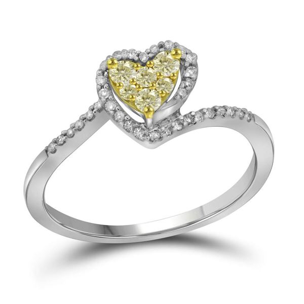 Round Yellow Color Enhanced Diamond Heart Ring 1/4 Cttw 10KT White Gold
