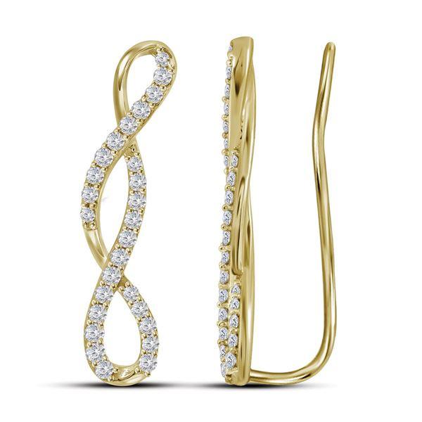 Round Diamond Climber Earrings 1/2 Cttw 10KT Yellow Gold